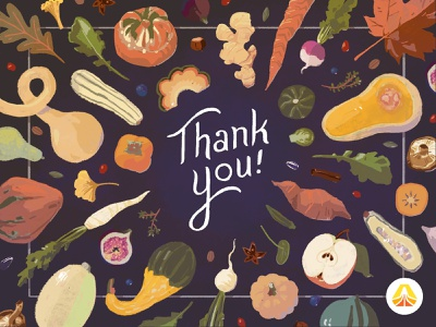 Thank you, from Skookum illustration vegetables autumn fall thank you thank you card greeting card
