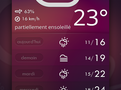 weather app second skin meteo france degree celcius temp wind humidity fahrenheit android climat climacon cloud sun weather app skin
