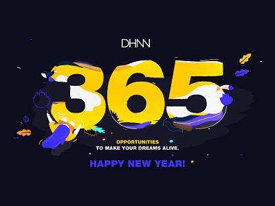 Happy new year! social media flyer dhnn creative agency new year illustration