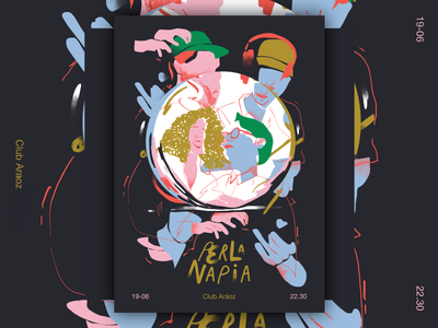 Perla Napia Flyer wacom social media sound color flyer rock pop music digital illustration