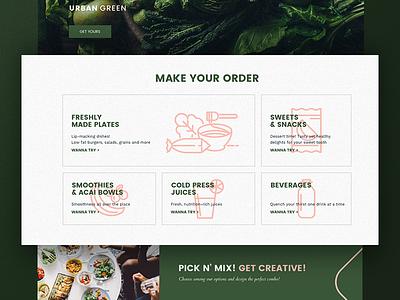 Urban green website fresh fit digital ux website site eat health food icons ui web