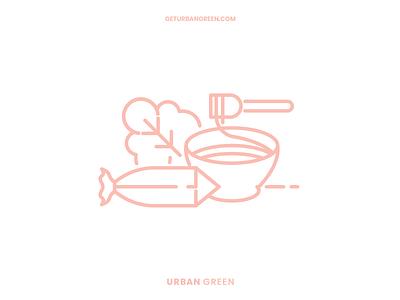 Urban green illustrations website fit green urban branding information health food digital illustration