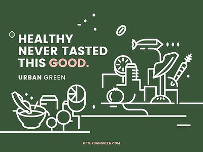 Urban green branding website urban information illustration health green food fit digital branding