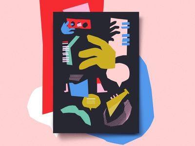 Jazz and shapes geometric music color jazz abstract poster illustration