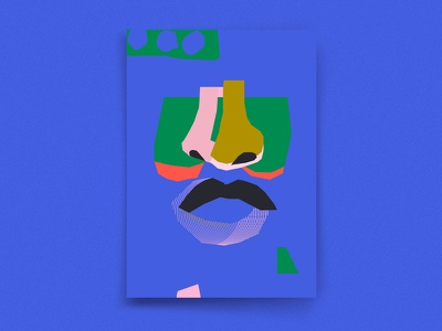 Shapes and faces geometric music color jazz abstract poster illustration