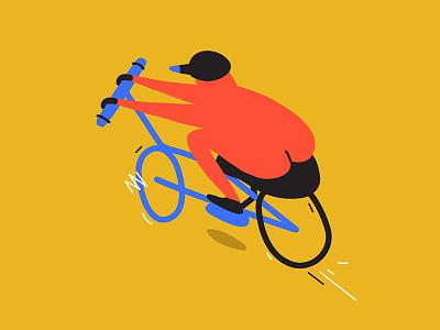 Birdy man city flat illustrator bird vector bike doodle illustration
