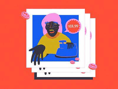 18.99 shop price draw organic color woman doodle illustration
