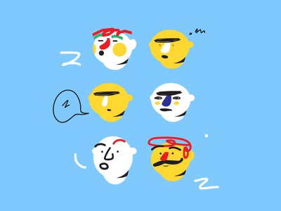 Character studies - YoYen gestures design color graphics expression face animation character illustration