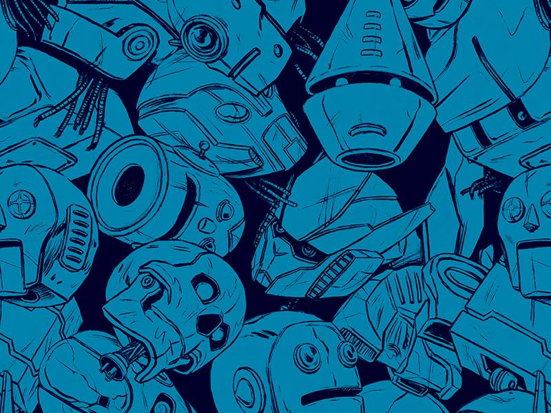 Dismembered Bot Head Pattern sci-fi design illustration pattern robots