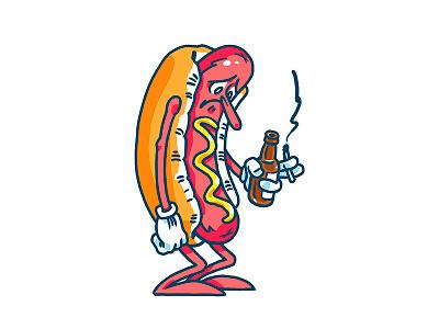 Sad Hot Dog hot dog illustration drawing ballpark mustard ketchup buns sad beer smoke usa america