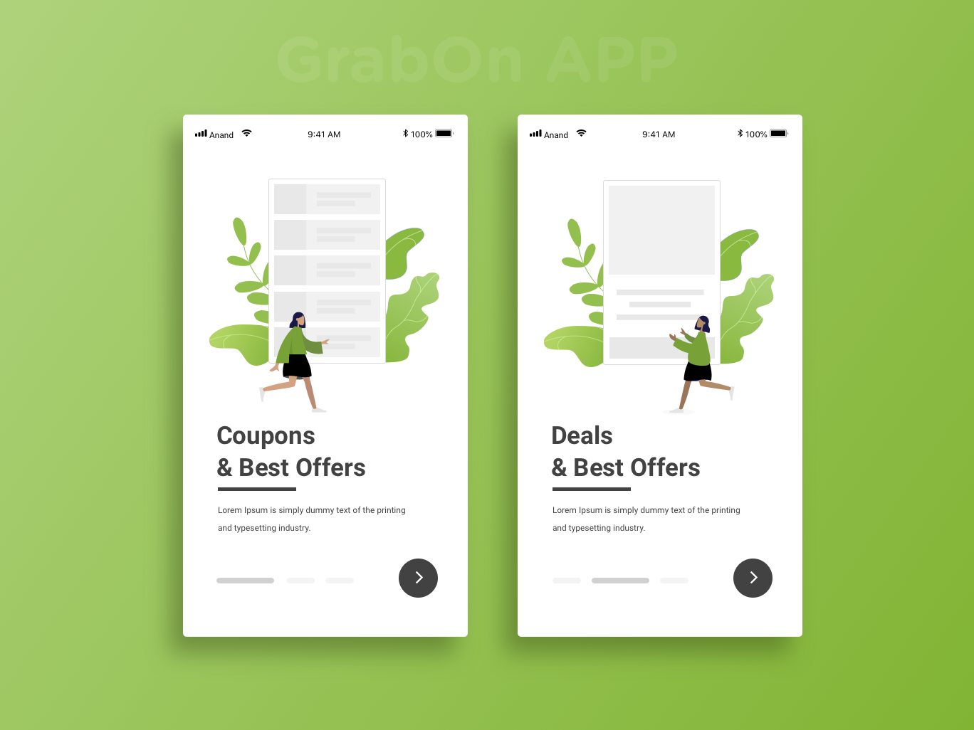 Grabon walkthrough screens walkthrough onboarding screen onboarding ui uidesign ecommerce design ecommerce app coupons illustrator sketchapp