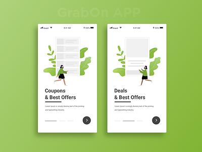 Grabon walkthrough screens walkthrough onboarding screen onboarding ui uidesign ecommerce design ecommerce app coupons illustrator sketchapp
