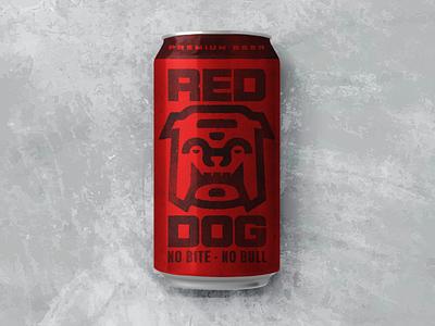 Red Dog Beer Rebrand Concept old-school vintage retro bulldog dog beer label beer identity design branding design monoline thicklines illustration graphic design packaging design packaging iconography icon logo branding