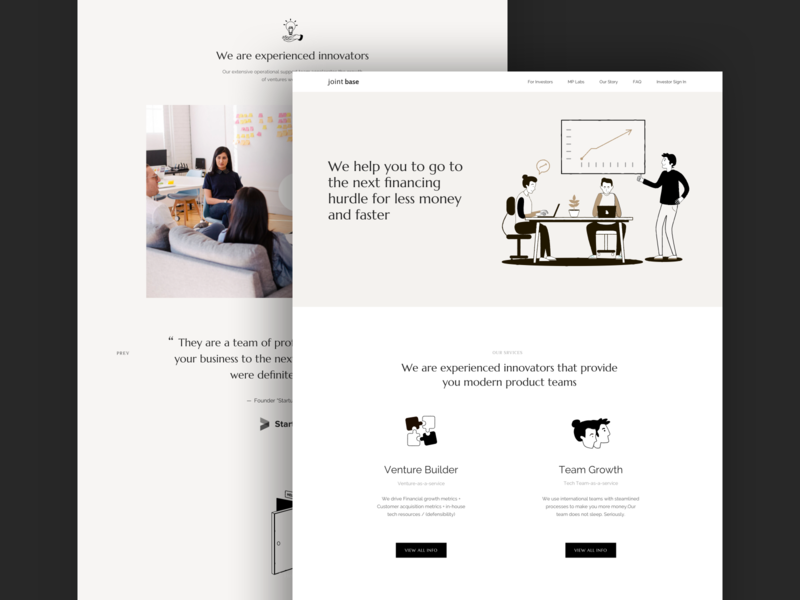 Marketing website for a venture builder product interaction ux ui design landing page landing web design web illustration typogaphy startup investment corporate company venture capital business brand agency
