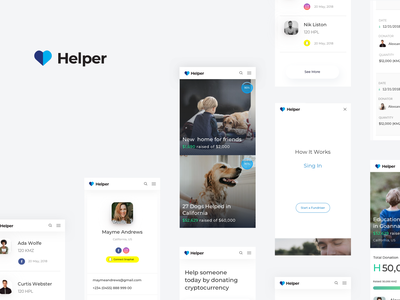 Helper web minimal help donation progress payment ux ui crowdfunding fundraising responsive website mobile