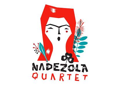Nedezola Quartet type flat 2d lettering design singer vocal illustration event concert jazz