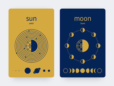 ☀️and 🌚 blue yellow contrast gold navy moon phases solarsystem ui moon sun