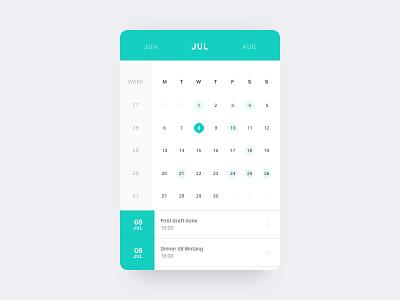 Calendar card clean investment interface minimal mobile colours calendar ui ux