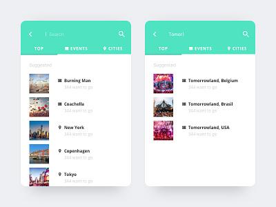 Search Festival card clean app interface minimal mobile travel festival ui ux