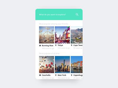 Explore Festivals clean search dailyui mobile minimal interface ui card travel card ui card festival travel