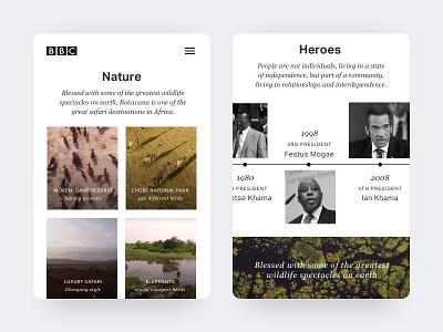 Botswana travel botswana card ui jungle interface minimal mobile results search clean travel card