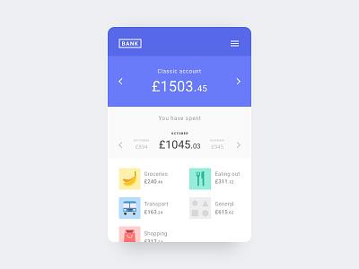 Bank App ux ui money icons mobile minimal interface bank clean card