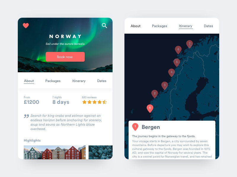 Norway northern lights scandi design scandinavian clean mobile minimal ui card norge norway travel