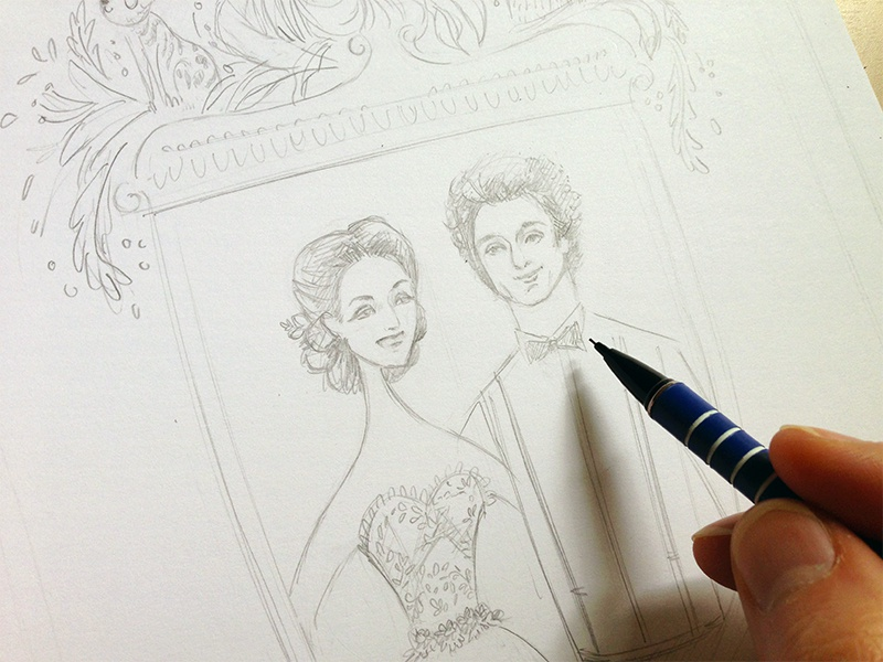 Hearts Open Slowly wedding portrait drawing pencil couple real handmade