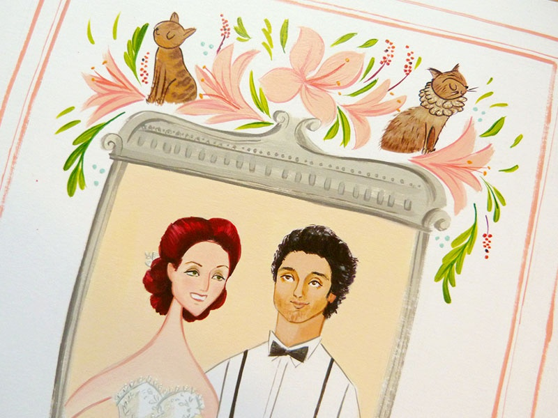 Vespa and Terrence cats hibiscus flowers ouple crest green pink berries frame wedding invitation