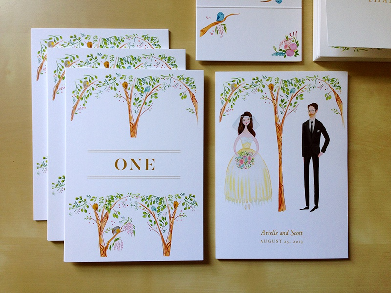 Birds and the Trees wedding stationery invitation birds trees table-numbers couple branch printed place-card