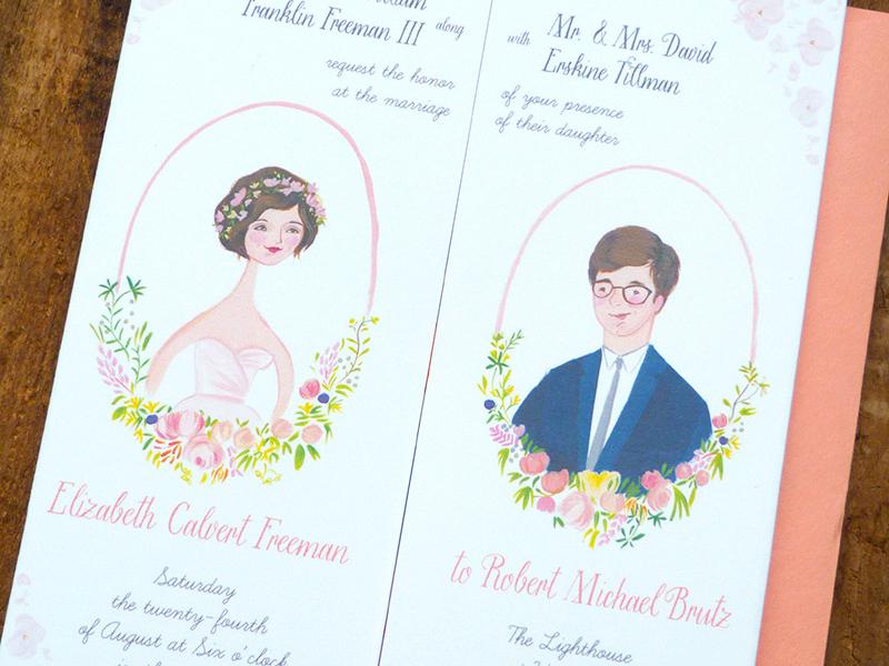 Party Island invitation portrait wedding stationery
