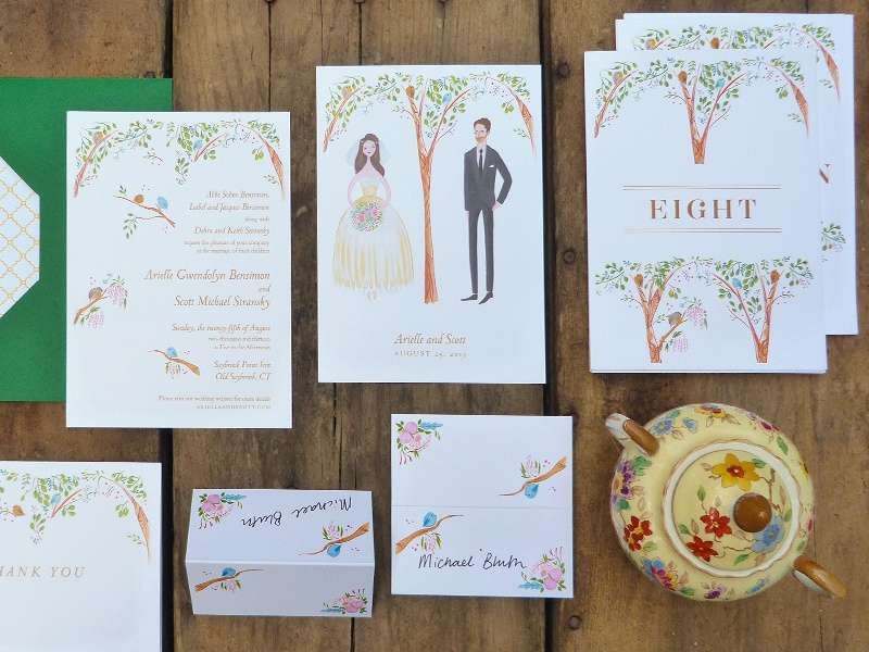 Bird's eye view invitation rsvp stationery table numbers wedding green yellow