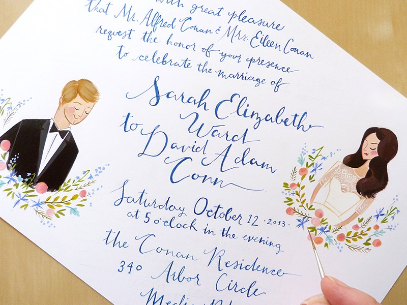 Love Letters hand lettering calligraphy ink painting illustration invitation wedding stationery