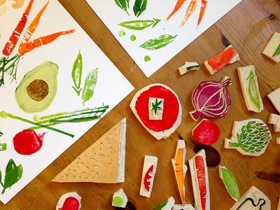 Sandwiches sandwich stamp real vegetables avocado tomato artichoke carrot bread pea handmade