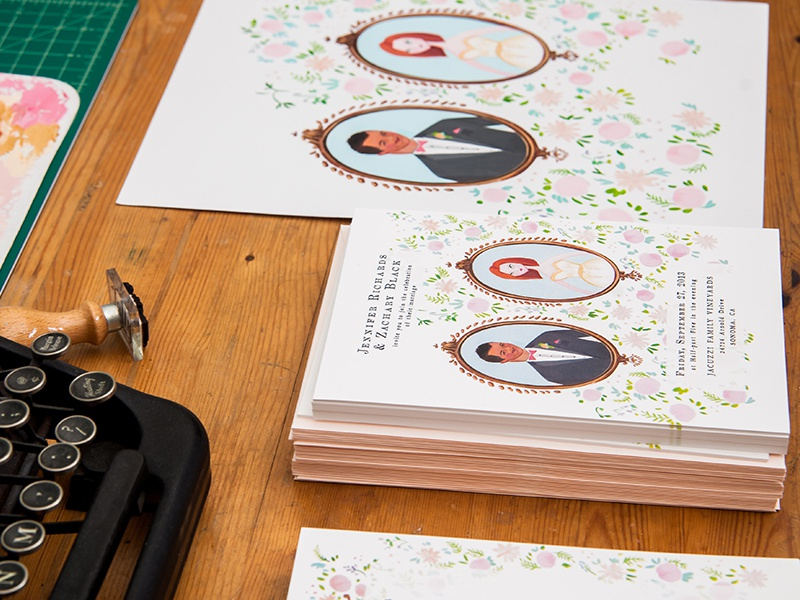 Jolly Edition Stationery wedding stationery illustration typewriter type stamp paint real desk invitation frame