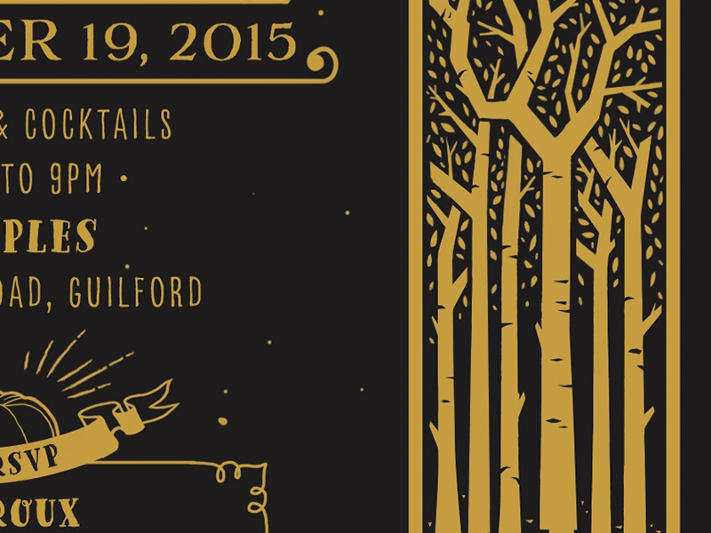Tretail dark winter invite invitation stationery wedding fall tree