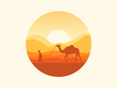 Scenery  icon sun mountain camel desert icon