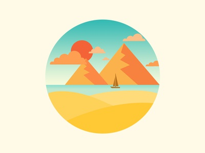 Scenery icon cloud sunset sun mountain boat