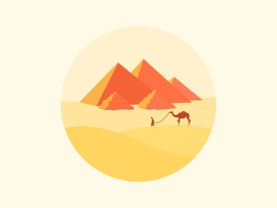 Scenery icon color,pyramid sunset camel mountain desert