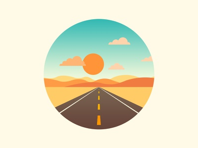 Scenery icon cloud sun mountain scenery highway the united states