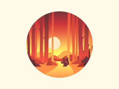 Scenery icon color light sun mountains animals
