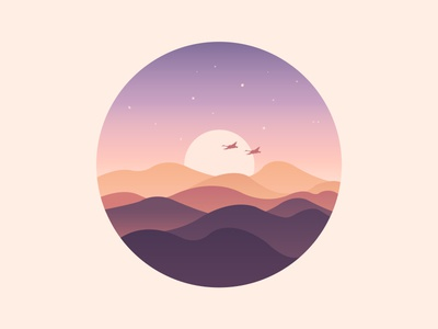 Scenery icon the sun the stars wild geese mountains the rosy clouds