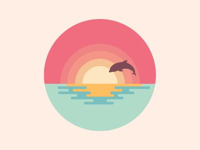 Scenery icon sun sea reflection dolphin color