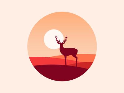 Scenery icon sun mountain deer