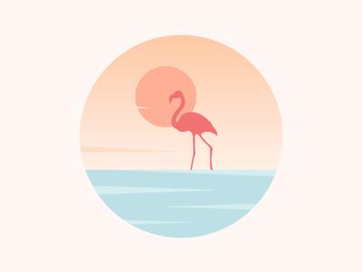 Scenery icon sun lake clouds water crane
