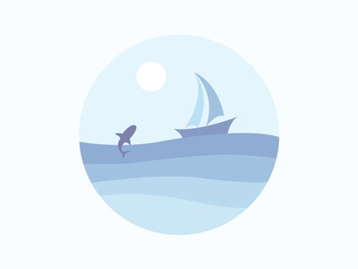 Scenery icon the ship the sun the shark the water the waves of the sea