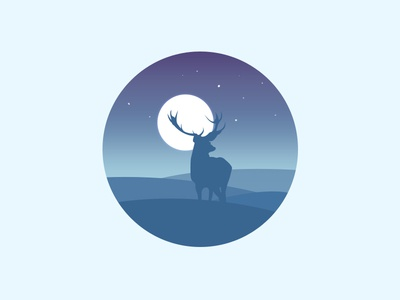 Scenery icon the mountains the stars the night the deer the moon