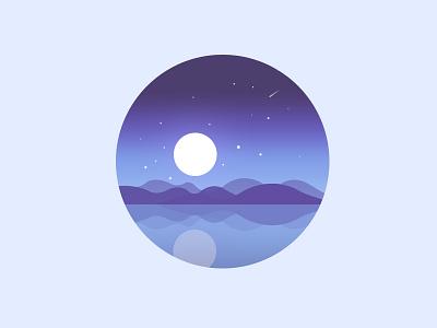 Scenery icon mountain water lake moon night