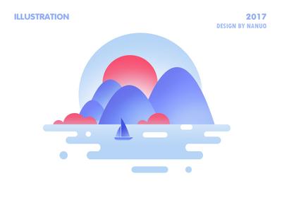 Scenery icon ,water,boat clouds,lake,sun