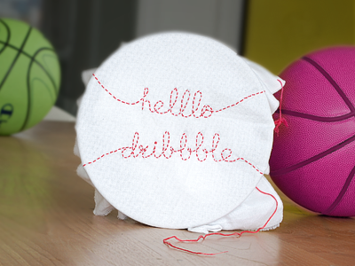 Helllo Dribbble! debut dribbble basketball stitching handwork ball
